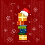 Kerstmis van Kerstmisgiften het winkelen vieringsconcept Stock Foto