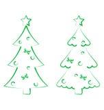 Kerstmis vastgestelde bomen met decoratie, gestileerde getrokken hand Royalty-vrije Stock Afbeeldingen
