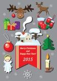 Kerstmis vastgestelde elementen Stock Fotografie