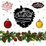 Kerstmis vastgestelde elementen op witte achtergrond stock illustratie