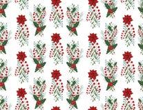 Kerstmis vector naadloos patroon met hand getrokken illustratie op wit Royalty-vrije Stock Foto