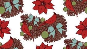 Kerstmis vector naadloos patroon met hand getrokken illustratie op wit Stock Foto's
