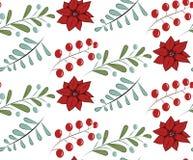 Kerstmis vector naadloos patroon met hand getrokken illustratie op wit Stock Foto
