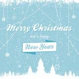 Kerstmis vectorachtergrond met bericht bue Stock Afbeelding