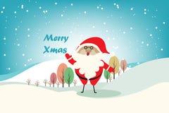 Kerstmis vectorachtergrond met Santa Claus en verschillende kleurenboom Royalty-vrije Stock Fotografie