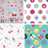 Kerstmis vectordieelementen voor feestelijk ontwerp worden geplaatst Gift, Sneeuwvlok, Ostrolist, Kerstmissok, Ster, Leuke Uil Stock Fotografie