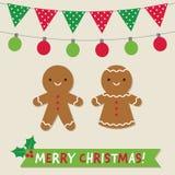 Kerstmis vectorkaart met peperkoekkoekjes en decoratie stock foto's