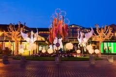 Kerstmis verfraaid winkelcentrum Royalty-vrije Stock Foto's