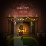 Kerstmis verfraaide open haard vectorillustratie Stock Afbeeldingen