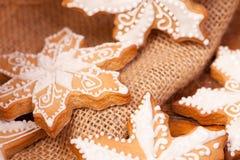 Kerstmis verfraaide peperkoekkoekjes Stock Afbeeldingen