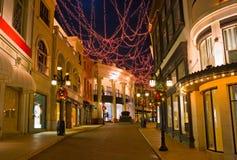 Kerstmis verfraaide straat in Beverly Hills Royalty-vrije Stock Afbeelding