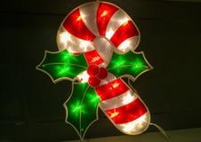 Kerstmis Verlicht Suikergoedriet Stock Afbeeldingen
