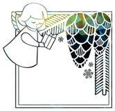 Kerstmis vierkant fonkelend kader met leuke engelen royalty-vrije illustratie