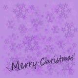 Kerstmis violette achtergrond met sneeuwvlokken en tekst Royalty-vrije Stock Fotografie