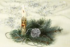Kerstmis votive kaars stock foto's