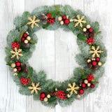 Kerstmis Welkome Kroon Stock Afbeeldingen