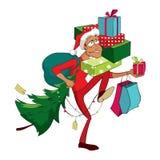 Kerstmis Winkelende Mens Stock Illustratie