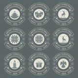 Kerstmis wit embleem in de vorm van een cirkel, reeks Stock Fotografie
