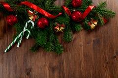 Kerstmis witte houten hoogste mening als achtergrond Royalty-vrije Stock Foto's