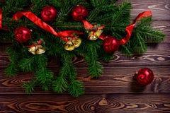 Kerstmis witte houten hoogste mening als achtergrond Stock Foto's