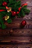Kerstmis witte houten hoogste mening als achtergrond Royalty-vrije Stock Foto