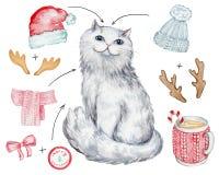 Kerstmis witte kat vector illustratie