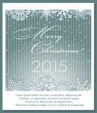 Kerstmis zilveren achtergrond met sneeuwvlokken Royalty-vrije Stock Afbeeldingen