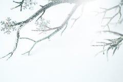 Kerstmis Zilveren Tak en Metaalsneeuwvlokken Stock Foto's