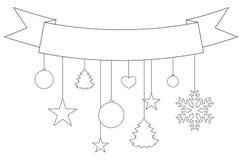 Kerstmis zwart-witte affiche, lint, sneeuwvlokken en sterren Stock Foto