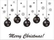 Kerstmis zwart-witte kaart van de vakantie Stock Afbeeldingen