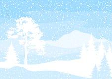 Kerstmisachtergrond, bomen en sneeuw Royalty-vrije Stock Foto's