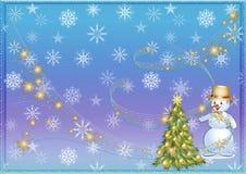 Kerstmisachtergrond of Kerstmisachtergrond Boom Sneeuwman sneeuw Royalty-vrije Stock Foto's