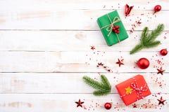 Kerstmisachtergrond en decoratieconcept royalty-vrije stock foto
