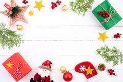 Kerstmisachtergrond en decoratieconcept royalty-vrije stock afbeelding