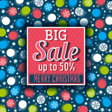 Kerstmisachtergrond en etiket met verkoopaanbieding, vector Royalty-vrije Stock Fotografie