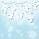 Kerstmisachtergrond - Engelen stock illustratie