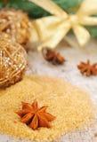 Kerstmisachtergrond in goldtone Royalty-vrije Stock Foto's
