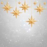 Kerstmisachtergrond - gouden sterren Stock Foto