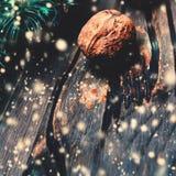 Kerstmisachtergrond, groetkaart met sparrentak en h Royalty-vrije Stock Afbeeldingen