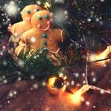 Kerstmisachtergrond, groetkaart met sparrentak en h Stock Foto