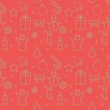 Kerstmisachtergrond, het naadloze betegelen, grote keus voor verpakkend document patroon Stock Afbeelding