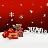 Kerstmisachtergrond - Kerstboom - giften - rood - Sneeuw Royalty-vrije Stock Foto
