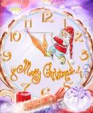 Kerstmisachtergrond, Kerstmis fabelachtige achtergrond met dwerg en grote klok Stock Afbeeldingen