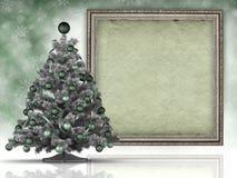 Kerstmisachtergrond - Kerstmisboom en document blad Royalty-vrije Stock Foto's