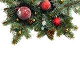 Kerstmisachtergrond met ballen en decoratie op whit worden geïsoleerd die Royalty-vrije Stock Foto