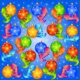 Kerstmisachtergrond met ballen en draken Stock Afbeeldingen