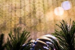Kerstmisachtergrond met bokehlicht Stock Afbeelding