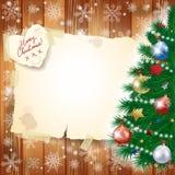 Kerstmisachtergrond met boom en exemplaarruimte Royalty-vrije Stock Afbeelding