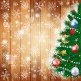Kerstmisachtergrond met boom en exemplaarruimte Stock Fotografie