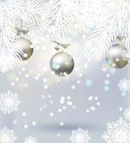 Kerstmisachtergrond met boomtakken, ballen, sneeuwvlokken, het fonkelen lichten Feestelijke Banner Royalty-vrije Stock Afbeelding